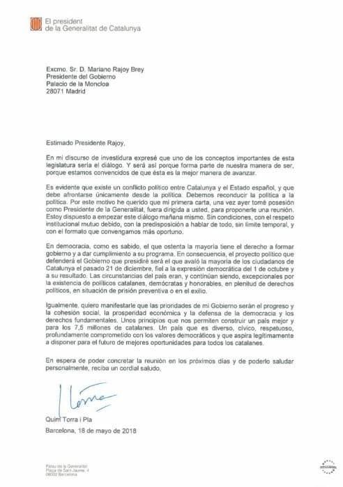 lettera al Sig. Rajoy